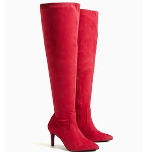 Torrid -  Red Stretch Faux Suede Knee Boots 7W